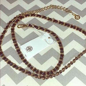 Tory Burch leather & chain belt